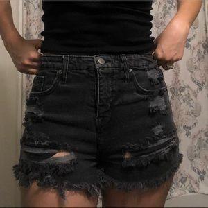 Mossimo supply co black denim distressed shorts